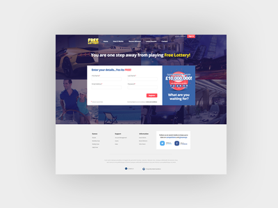 register page lottery design web website signup register