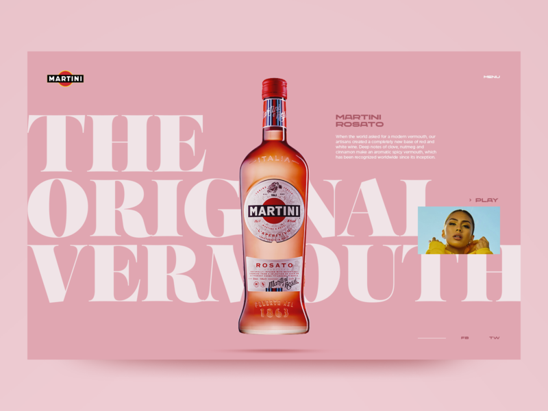 Martini Rosato product design website design web design website typography design