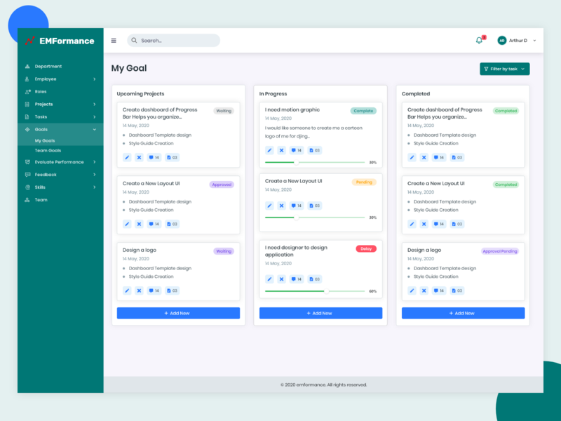 EMformance Ui Design ui design project tracking performance dashboard user experience admin uidesign
