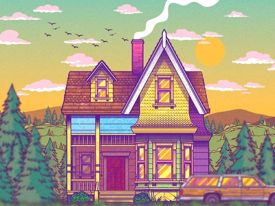 Carl's House drawing house city vector