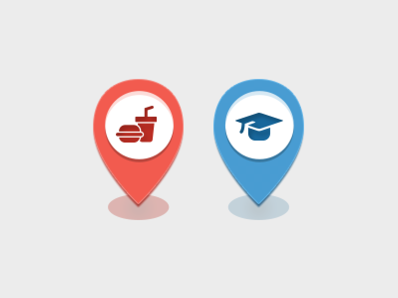 Map Categories icons map icons map food drink education