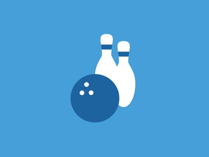 Bowling Icon icon blue minimal flat bowling ball pins