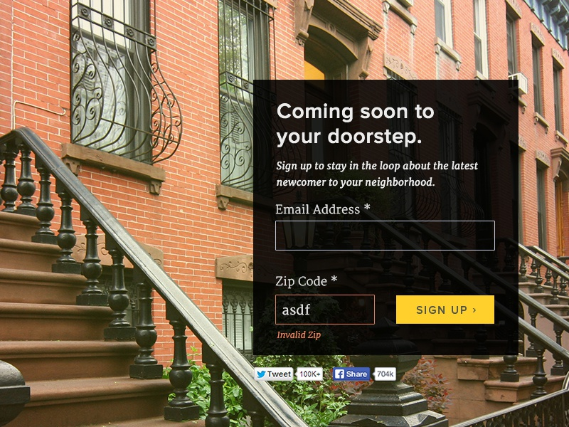 Landing Page Concept landing page web design validation form proxima nova brownstone