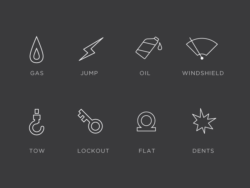Car Repair Icons car icons lightning line flat minimal gotham