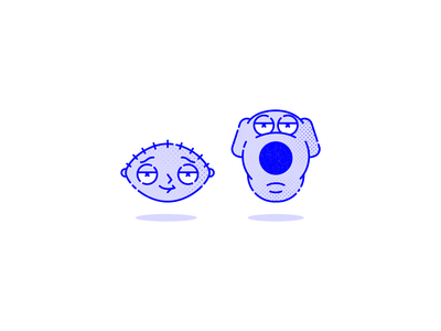Stewie & Brian - Family Guy stewie griffin stewie cartoon halftone linear icons icon design griffin brian tv series character vector digital illustraion