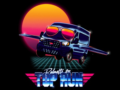 Top Run T-Shirt Design airbrush illustration sam stone design sam stone passenger van aviators procreate top gun top run palmetto 200