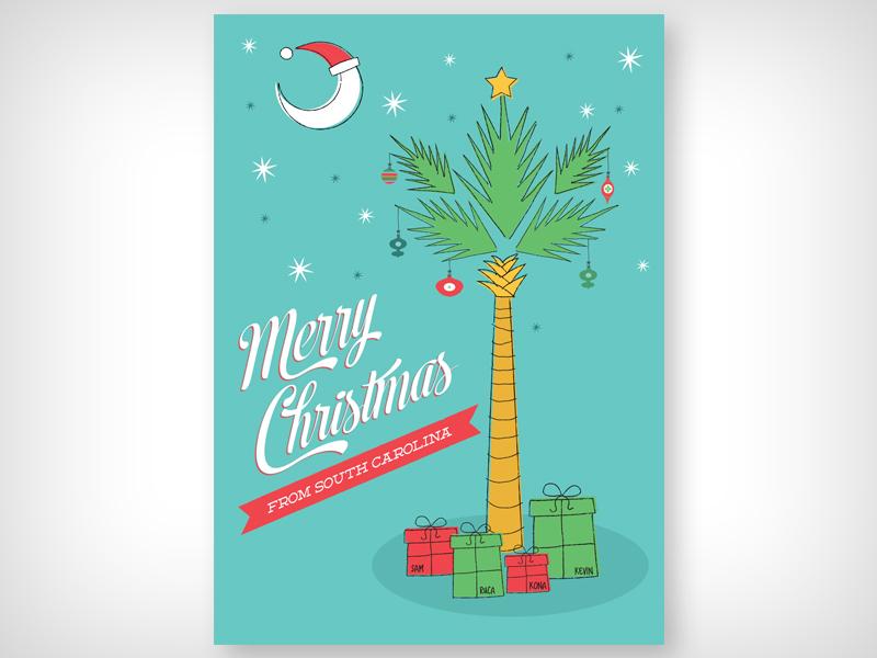 Christmas Card south carolina illustration christmas card palmetto tree crescent moon charleston
