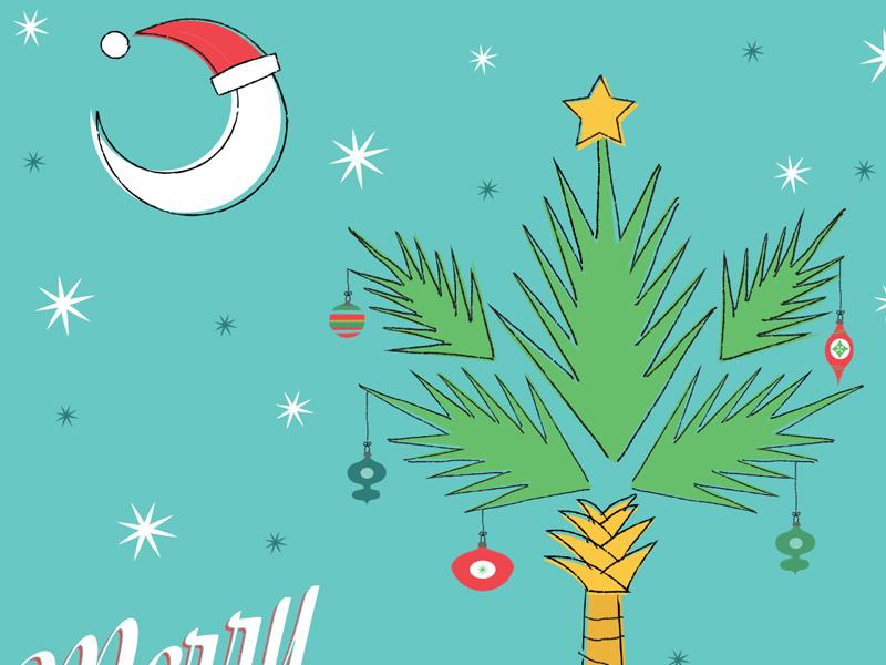 Christmas Card (Detail Shot) south carolina illustration christmas card palmetto tree crescent moon charleston