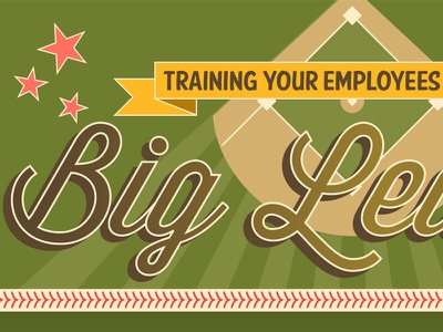 Training Your Employees for the Big League Infographic Design baseball training infographic illustration employees