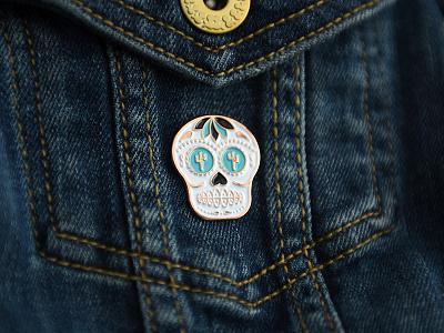 Sam Stone Sugar Skull Pin pingamestrong business card identity branding sam stone sugar skull soft enamel pin