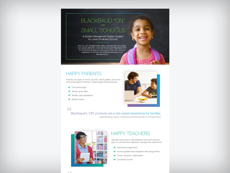 "Blackbaud ""ON"" for Small Schools Infographic gradients k-12 k12 agency545 blackbaud infographic"
