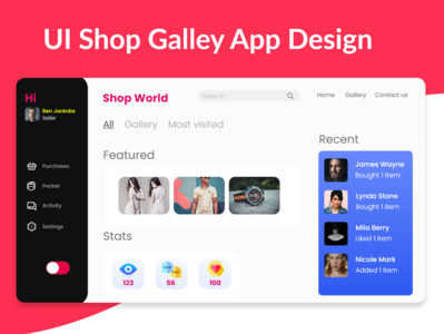 Shop Gallery UI App Design landing page interface icon website dashboard branding ux design ui