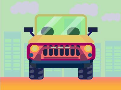 Wrangler Jeep building road jeep car vector red purple icon illustration