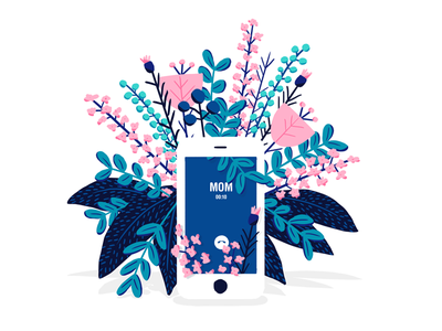 Call Your Mom plants leaf photoshop illustration pink blue cell phone mothers day mom mother iphone