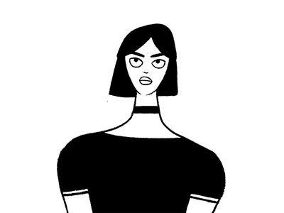 '90s Girl women 90s girl character design character photoshop ink black and white illustration