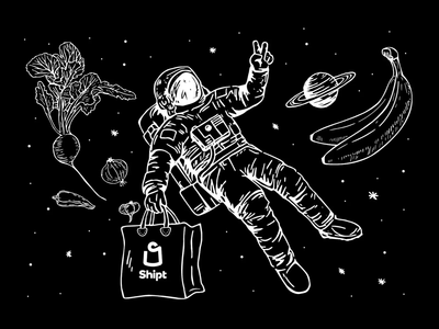 Going Above & Beyond Tee 💫 peace tshirt delivery groceries grocery shipt after effects space hand drawn illustration design