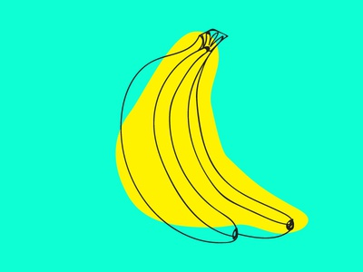 totally bananas grocery food sketch illustration neon blue fruit yellow bananas