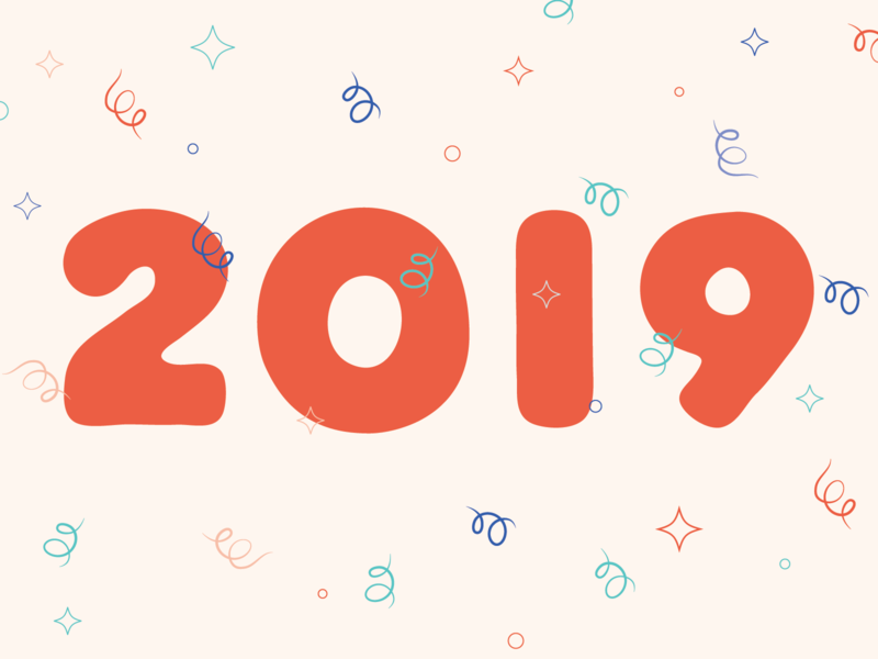 ~°*~ 2019 ~*°~ celebrate new years eve new year typography confetti vector bubble letters 2019