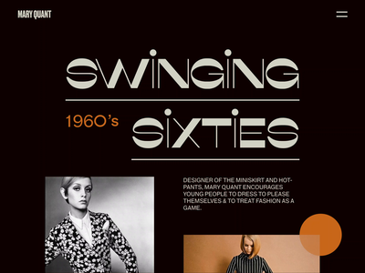 Mary Quant design online store branding typography website sixties ecommerce mary quant fashion art direction orange graphicdesign ux ui