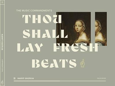 Saint Cecelia neutrals catholic saint art spotify music player podcast music streaming music icon typography art direction logo illustration graphicdesign design ux branding ui