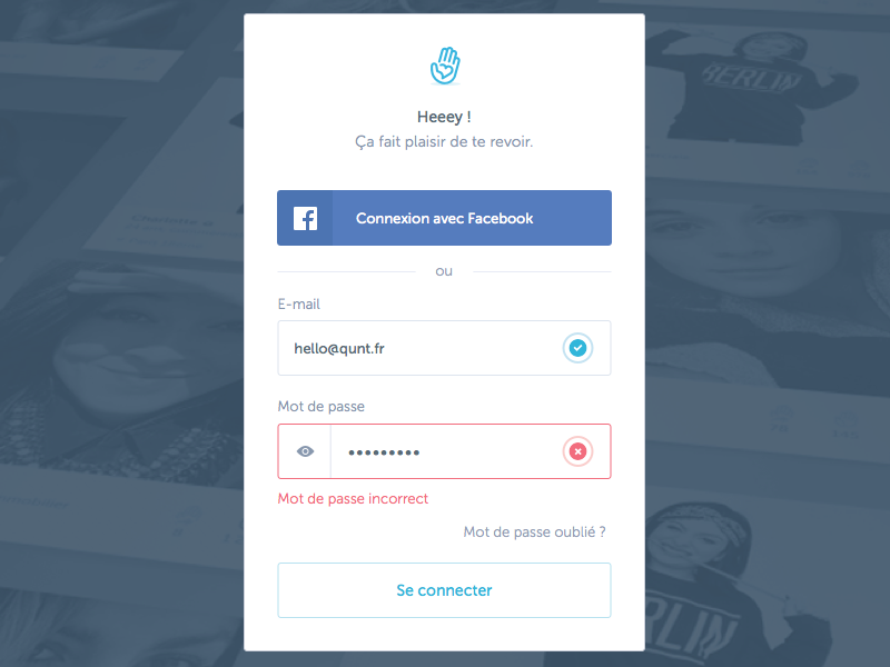 Sign in app form login field sign in button input connect ui ux hand logo