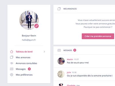 La Poussette 👪 interface chat box discussion form ux ui dashboard