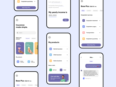 Insurance made simple! grid layout mobile ui ux uix uiux ios cards chat app chat fitness health health insurance insurance app insurance company home insurance insurance