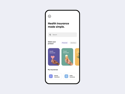 Insurance made simple! android iphone ios mobile ui uiux interactiondesign interaction ae after effects animations animation simple light colorful fitness car insurance health insurance health insurance