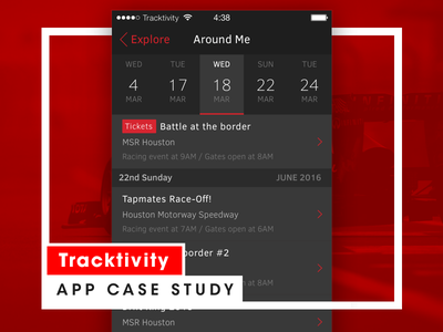 Tracktivity — Casestudy events app mobile racing ios ios9 iphone black behance case study tracktivity