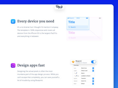 Blueprint - Features landing page blueprint ios template ios 11 default system