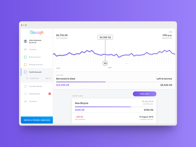 Douugh / Dashboard line graph finance management banking ux ui white purple minimalist clean ios app web