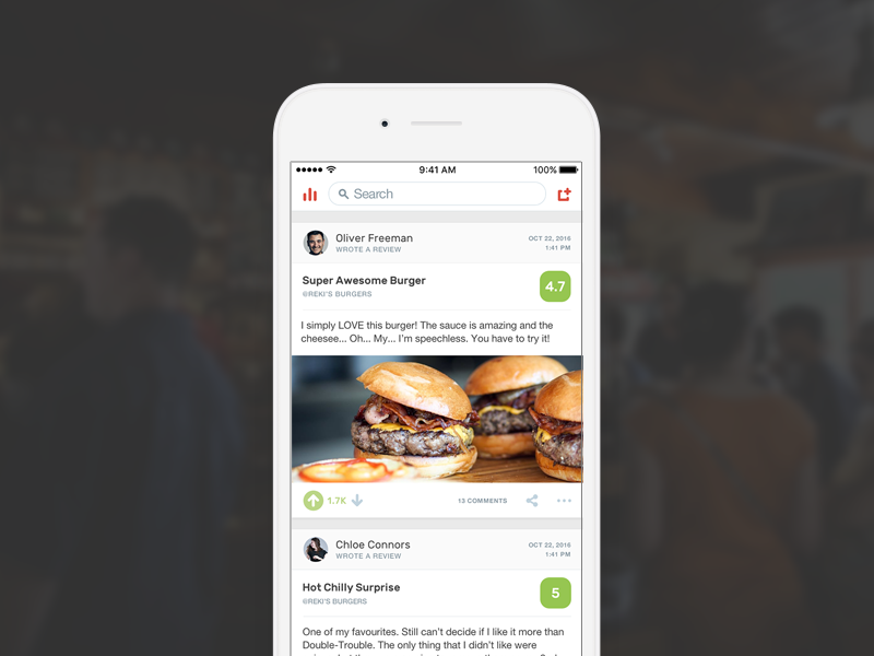 The Burger Collective / User's Feed user feed simple clean leaderboard red food app ios restaurants burger