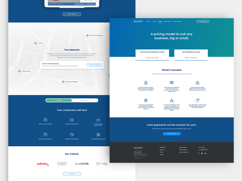 Product & Service Project / Marketing Website service pricing page landing page marketing web minimalist clean green blue ui