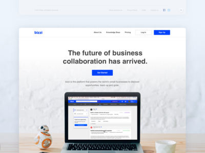 Bizzi / Landing Page product ui bizzi blue business collaboration