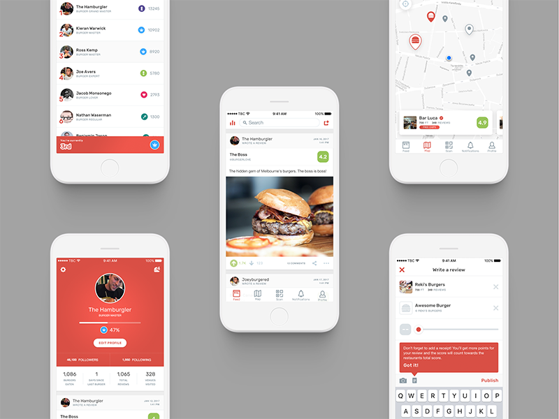 The Burger Collective / Screens app collaboration foodie red burger ux ui product