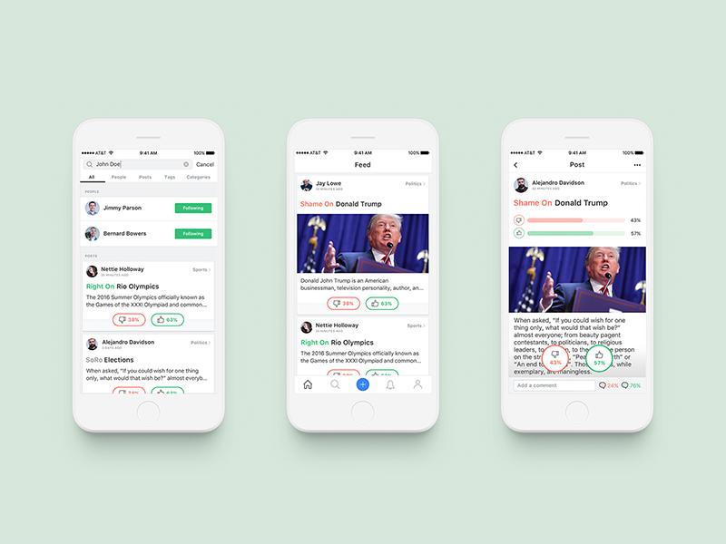 Soro (Shame on / Right on) media social app ios ux green binary
