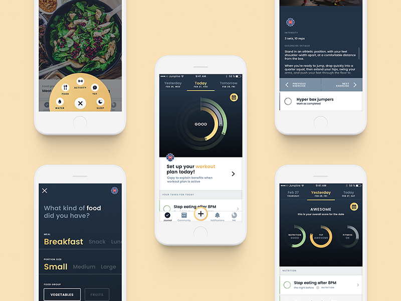 Jumpline dribbble 5 screens