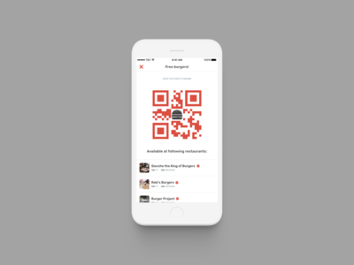 The Burger Collective / QR code product ui ux burger red foodie social app