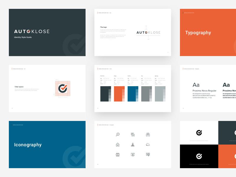 AutoKlose / Style Guide branding brand identity visual style guide black icon set typography blue logo orange styleguide minimalist ui ux