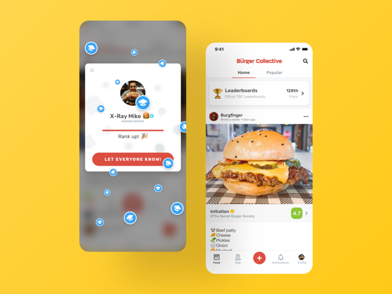 The Burger Collective / Rank Up! badges rankings mobile app design foodie social media design yellow red burger food android app app ios ux ui