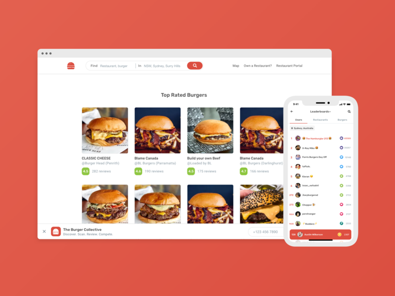 The Burger Collective / Leaderboards android app design ios app design badges leaderboard burger red food android app app ios ux ui