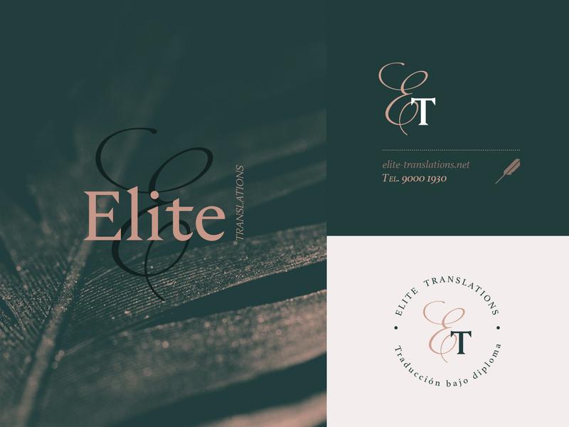 Elite Translations Logo sleek elegant translation logo icon design art direction branding