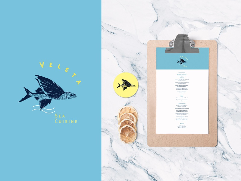 Veleta Sea Cuisine Logo illustration restaurant editorial design menu sea art direction logo branding