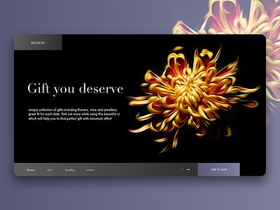 Bishop giftshop concept flower gradient gift flat illustration shop e-commerce women typography web ui ux