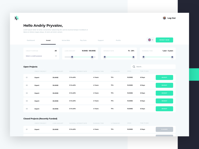 Finnabee Web Application by Andriy Pryvalov for Etheric on Dribbble