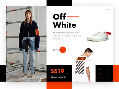 OFF-WHITE Shop minimal type website vector typography branding design etheric business web modern virgil abloh flat ux ui visual design fashion off white e-comerce shop