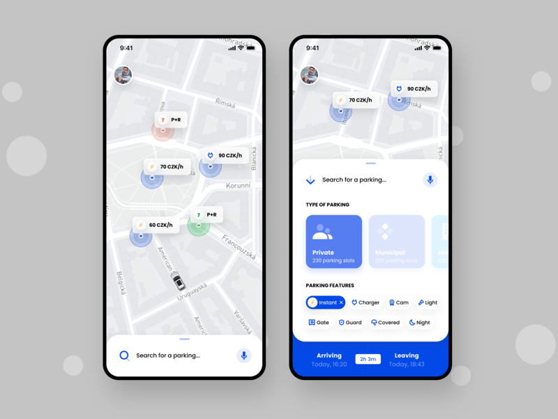 RePark - P2P Parking Iteration mobile interface municipality business illustration decentralized parking hack week parking app hack smart parking smart city p2p agency etheric modern typography flat ux ui