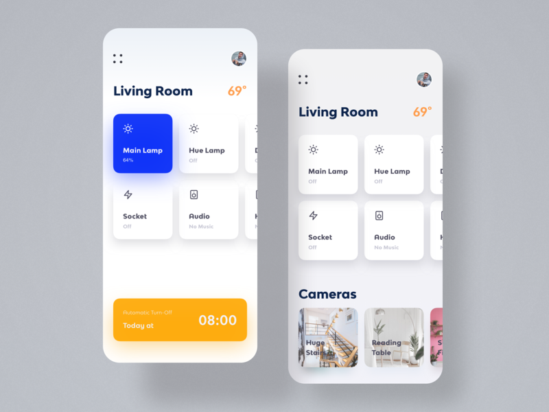 Smarthome App Dashboard agency ios etheric oü etheric smartphone shadow modern parallax user interface design visual interface application ui ux design smart home smart home dashboard mobile app concept mobile app design home lights camera smarthome smart