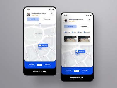 Re.Park - Booking mobile interface municipality business illustration decentralized parking hack week parking app hack smart parking smart city p2p agency etheric modern typography ux ui map
