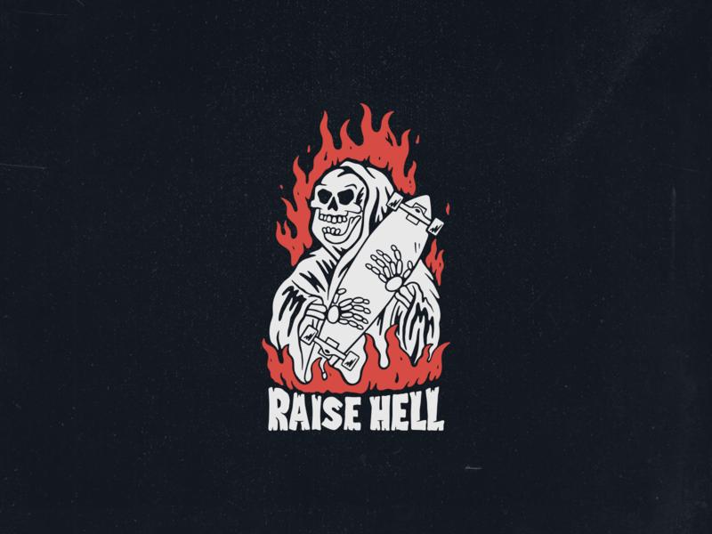 Raise hell hellraiser distressedunrest hell skeleton grim reaper vector skull skateboard illustration handdrawn grim deck design death custom design branding black longboard